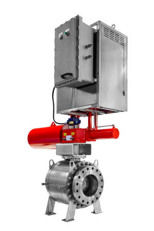 Automatic remote controlled ball valve with latch for industrial gas or oil pipeline with high pressure insulated on white background