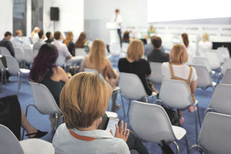 Woman and people Listening on The Conference. Horizontal Image Stock Photo