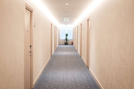 Modern structure corridor in hotel.