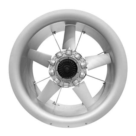 Ventilador de turbina de aire para ventilación y aire acondicionado aislado sobre fondo blanco.
