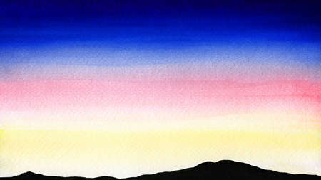 Colorful watercolor landscape of sunset or dawn over the silhouette mountains Reklamní fotografie