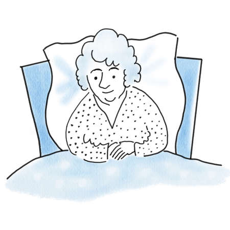 Old sick woman in bed, health concept, old age concept, watercolor painting illustration of handmade work, relaxation concept