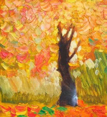 Original Ölgemälde einsamer Herbstbaum, gefallene Blätter, Malerei auf Leinwand. Impasto Kunstwerk. Impressionismus Kunst.