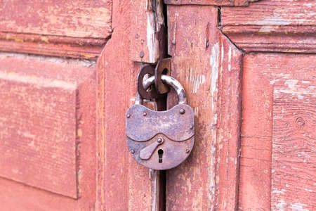 Closeup wooden door with lock