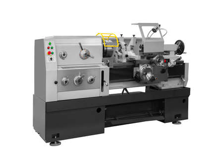 Manufacturing professional lathe machine . Industrial concept. Programmable modern digital lathe with digital program control, turret type blade holder