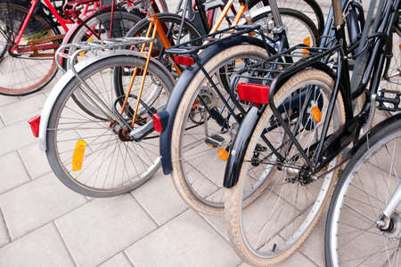 Group of bicycles parking. Sport concept with bicycle. Pile of bikes in the street of Stockholm city. Selective focus Stockfoto