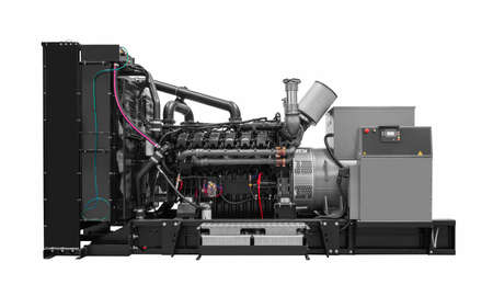 Generatore elettrico diesel a pistone a gas isolato su sfondo bianco