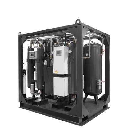 Caldaia a gas portatile mobile industriale del generatore di vapore per il riscaldamento e l'approvvigionamento idrico isolato su priorità bassa bianca