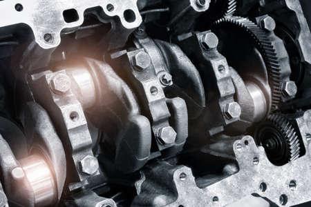 Car engine part, concept of modern vehicle motor and cut metal car engine part details