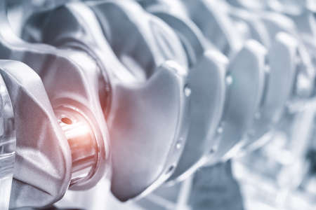 Engine crankshaft close-up industrial engineering service automobile concept.