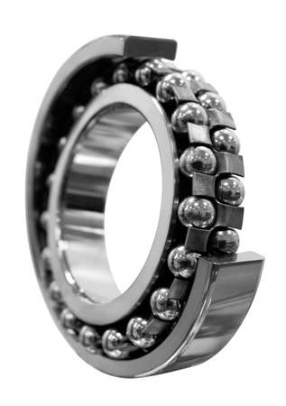 Steel bearing closeup isolated on white background