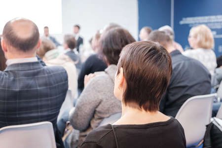 Business woman and people Listening on The Conference. Horizontal Image Foto de archivo