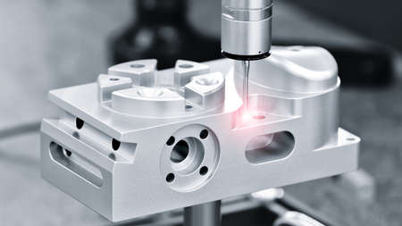 Operator inspection dimension metal parts by CMM after machining process in industrial factory.