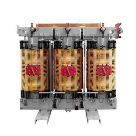high voltage transformer on a white background