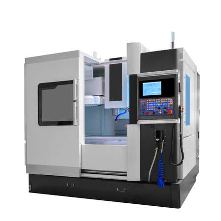 Manufacturing CNC professional Drilling and milling industrial machine isolated on white background