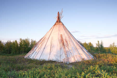 Chum tent in tundra in north Russia, Yamal Imagens