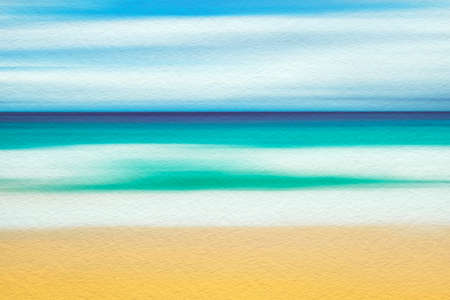 Watercolor illustration on textured paper of sand beach and sea. Artistic natural painting abstract background.