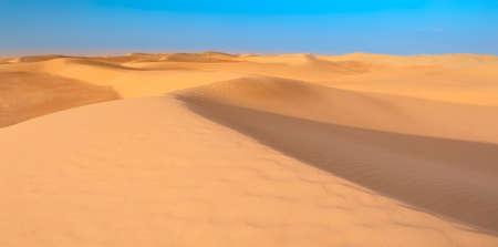Big sand dunes panorama. Desert or beach sand textured background.