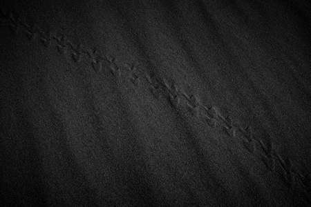 Black and White Sand beach macro photography. Texture of black and whote sand for background. Close-up macro view of volcanic sand surface black and white color. Black and white poster texture sand in the desert.