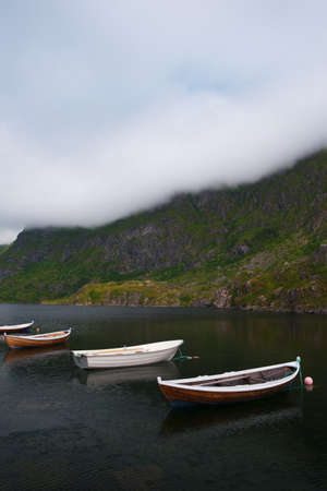 Vacation concept with boats at idyllic fjord in norway Stock fotó - 161328532