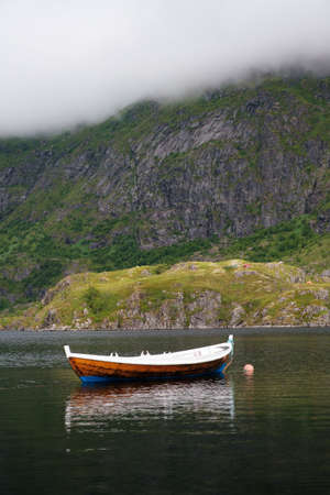 Vacation concept with boats at idyllic fjord in norway Stock fotó - 161328535