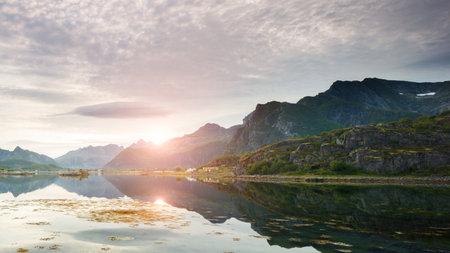 Sunset in Lofoten islands of Norway Stock fotó - 161328541