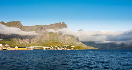 Travel concept with fishing village in Norway Stock fotó - 161328546