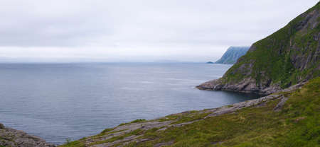 Northern Norway cloudy sea landscapes Stock fotó