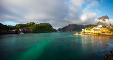 Travel concept with fishing village in Norway Stock fotó - 161328548