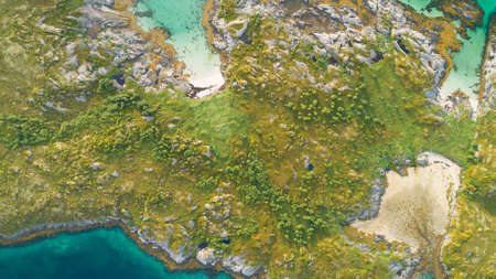 Aerial shooting of islands and cliffs Stock fotó