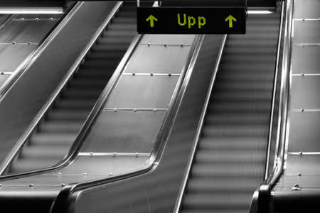 Modern luxury escalators with staircase at airport Stock fotó - 161566019