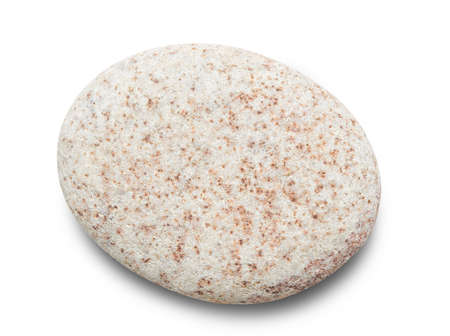 Pebble. Smooth gray sea stone isolated on white background with shadows, clipping path for isolation without shadows on white