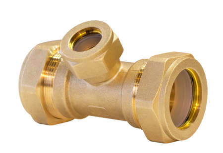 Bronze plumbing fitting for pipes isolated on white background