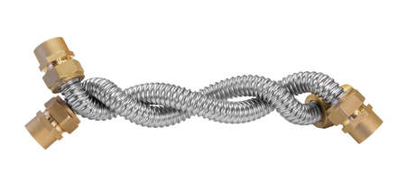 Stainless steel flexible hoses and flexi pipes, fittings and pressure joints close-up mackro. Industrial metal concept