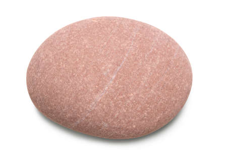 Pebble. Smooth red sea stone isolated on white background with shadows, clipping path for isolation without shadows on white