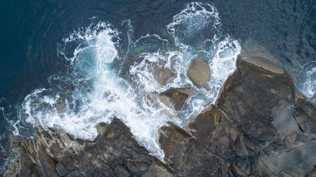 Top view aerial photo from flying drone of islands, ocean turquoise water. vacation concept. Stock fotó