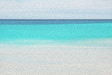 Sea and sandy beach abstract watercolor paint on texture paper background