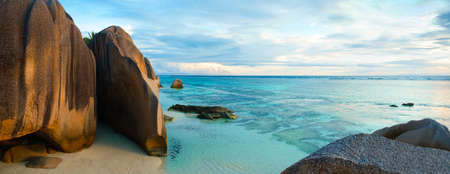 Vacation travel concept with tropical sea beach sunrise landscape panorama