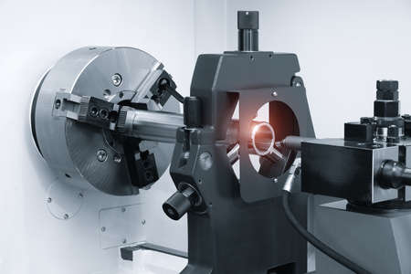 Manufacturing CNC professional lathe machine, Industrial concept.