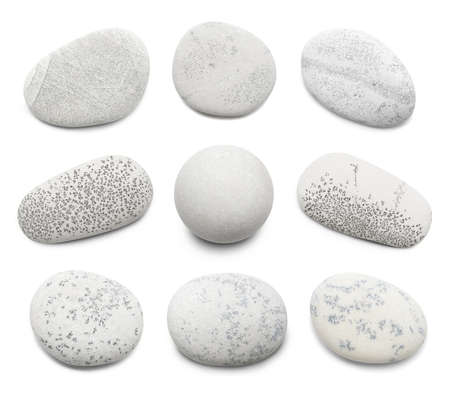 Pebble. Smooth gray sea stone isolated on white background with shadows Stock fotó