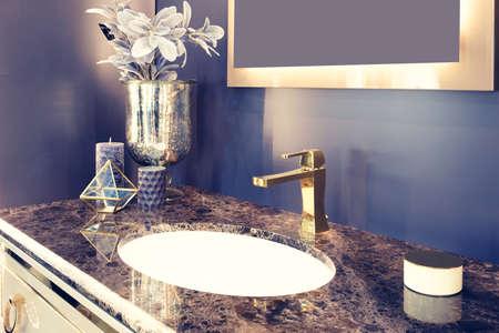 Retro classic bathroom dark blue interior, clean bright stylish designer retro bathroom