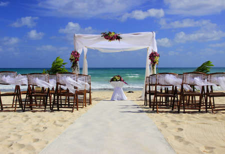 Wedding preparation on a beautiful sandy beach