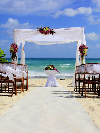 Wedding preparation on a beautiful sandy beach photo