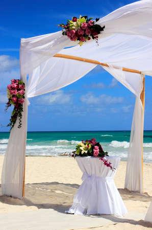elegant party: Wedding preparation on a beautiful sandy beach
