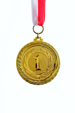 Gold medal, white background, vertical Stock Photo - 21916798
