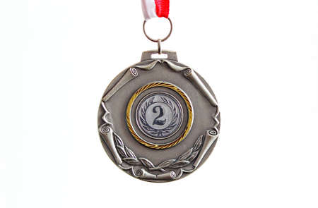 Silver medal, white background, horizontal Stock Photo - 21916822