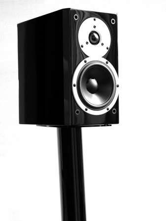gloss: Black high gloss music speakers on a stand