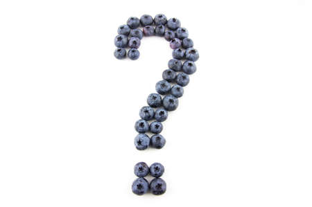 indecisiveness: Question mark concept made of fresh blueberries isolated on white Stock Photo