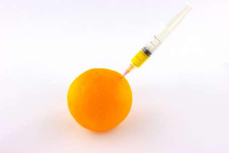 obtaining: Obtaining orange juice concept isolated on white background