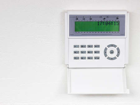teclado numérico: Inicio del sistema de alarma de seguridad Foto de archivo